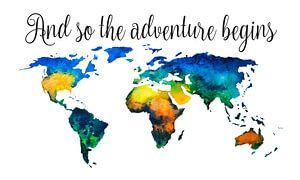 Wereldkaart in Aquarel met Quote - Chique Boven