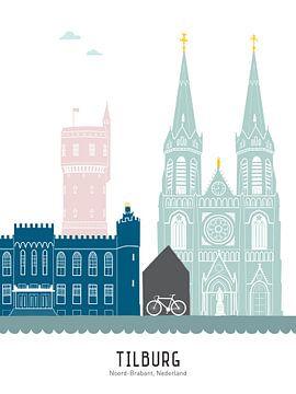 Skyline illustratie stad Tilburg in kleur van Mevrouw Emmer