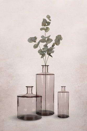 Glazen vazen in transparante grijs-bruine tinten