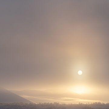 Morgennebel auf Island im Winter von Andreas Hackl