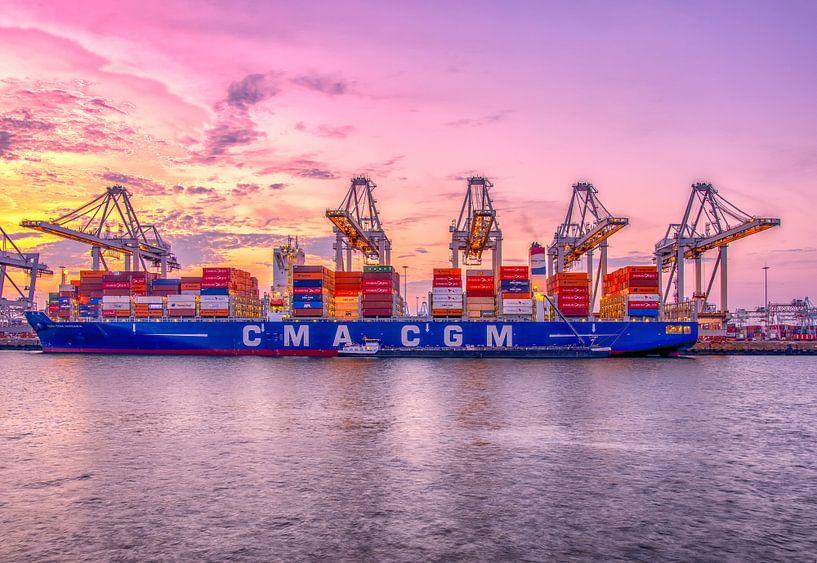Containership lossen van Rene Siebring