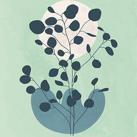 Minimalistisch landschap met een eucalyptus boom in koele kleuren van Tanja Udelhofen