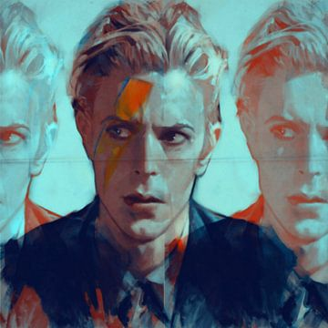Motiv David Porträt Bowie - 3 Faces Blue van Felix von Altersheim