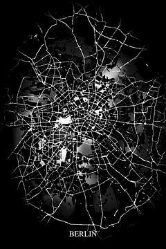 Berlin - Abstrakte Karte in Schwarz und Weiß von Art By Dominic