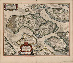 Schouwen Duiveland, Tholen en Noord Beveland, plattegrond Joan Blaeu