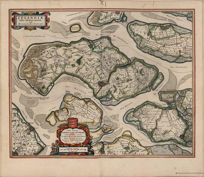 Feuerstellen Duiveland, Tholen und Noord Beveland, Karte Joan Blaeu von Atelier Liesjes