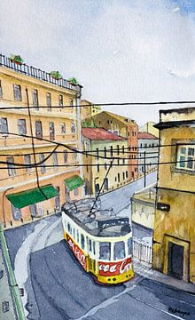 Straßenbahnlinie 28 in Lissabon | Carreira 28 | Aquarell von Watercolor Wall