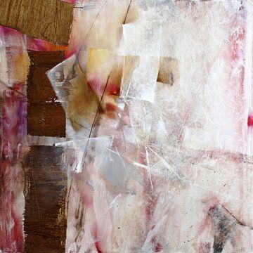 Abstracte samenstelling in wit en roze van Annette Schmucker