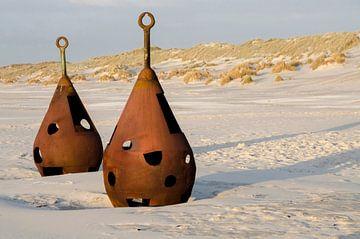 Oude verroeste boeien op het strand  van