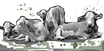 Koeien ietwat  kunstzinnig van Kunstenares Mir Mirthe Kolkman van der Klip