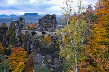 Die Basteibrücke im Herbst von Holger Spieker