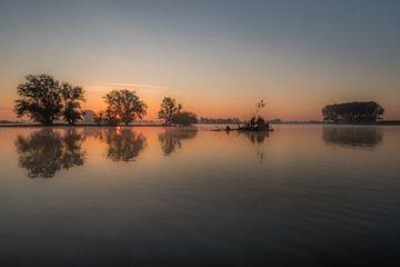 Reflexionsbäume im Wasser bei Sonnenaufgang von Moetwil en van Dijk - Fotografie
