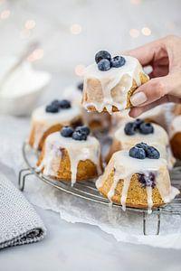 Teacakes met blauwe bessen & amandelen