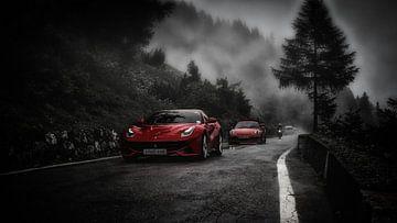 Ferrari auf dem Stilfser Joch von Eppo Karsijns