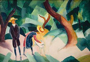 August Macke.Kinder mit Ziege