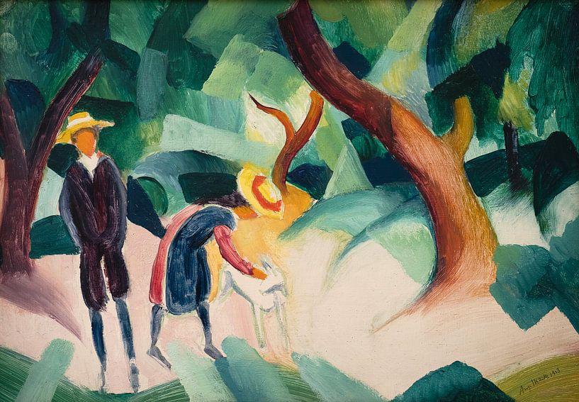 August Macke.Kinder mit Ziege von 1000 Schilderijen