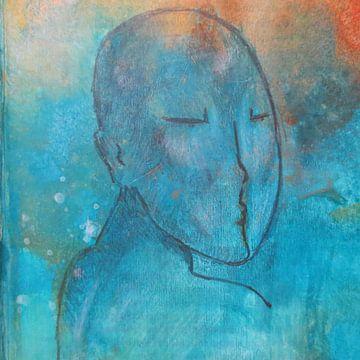 Portretje in blauw en oranje van Helma van der Zwan