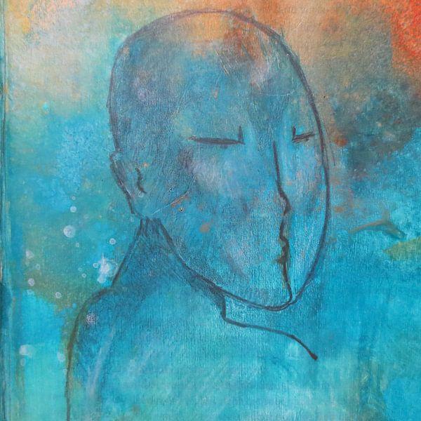 Portretje in blauw en oranje