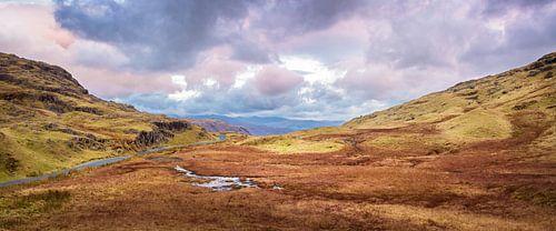 Laatste daglicht in de vallei, Lake district, Groot Brittannië