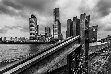 zicht op Rotterdam in zwart wit van Bert-Jan de Wagenaar