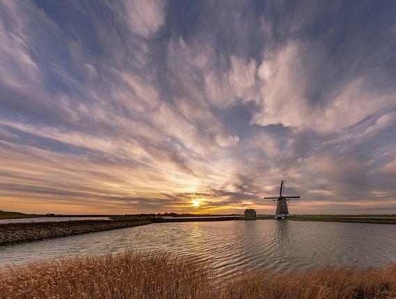 Molen Het Noorden Texel kleurige zonsondergang
