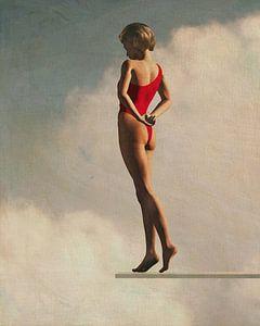 Retro stijl schilderij van een vrouw op een duikplank van Jan Keteleer