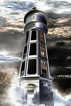 Watertoren in het duister van Abra van Vossen