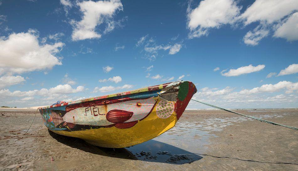 Boot op strand van Leon Doorn