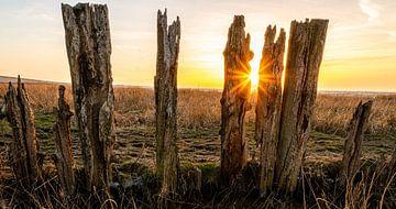 Zonsondergang in de Waddenzee van Piet Jetse Heeringa