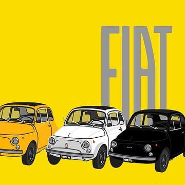 Fiats 500 auf gelb von Jole Art (Annejole Jacobs - de Jongh)