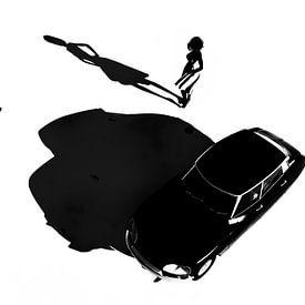 Classic - Retro French Girl avec voiture a Citroen DS sur Jan Keteleer