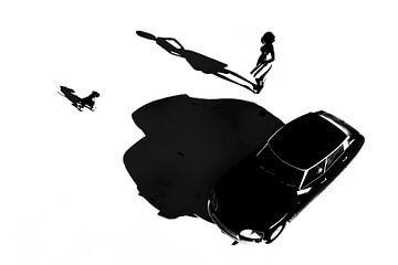 Klassiek - Retro Frans meisje met auto een Citroen DS