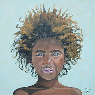 Afro Girl, Fille africaine avec une belle coiffure afro sur Bianca ter Riet