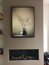 Kundenfoto: Blaue Vase mit Beeren von Karin Bazuin, auf leinwand