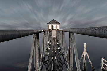 Der Leuchtturm bei Oostmahorn in Friesland von Dennisart Fotografie