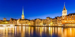 Cityscape of Zurich with the Fraumünster Church and St. Peter Church at night