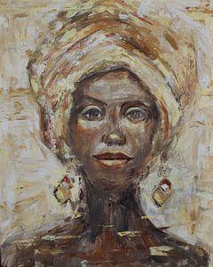 Peinture abstraite d'une femme africaine