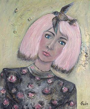 """Das Mädchen mit rosa Haaren/""""Flügel des Lebens"""" von Veronika Fraile Art"""