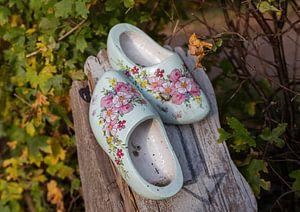 deux chaussures en bois sur un poteau en bois sur le chemin des chaussures en bois
