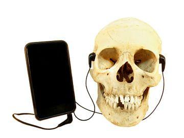 Humor ein menschlicher Schädel hört Musik per Telefon von Ben Schonewille