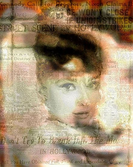 Audrey Hepburn Pop Art Canvas van Leah Devora