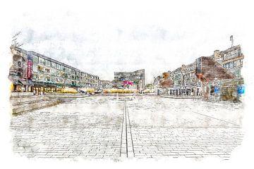 Nieuwe Markt in Roosendaal (Brabant) (Aquarel) van Art by Jeronimo