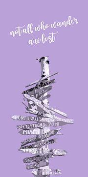 Grafikkunst WEGWEISER | violett von Melanie Viola