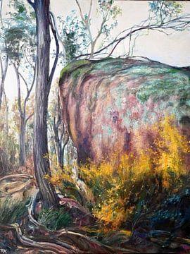 Australische Landschap  met bloem van KB Prints