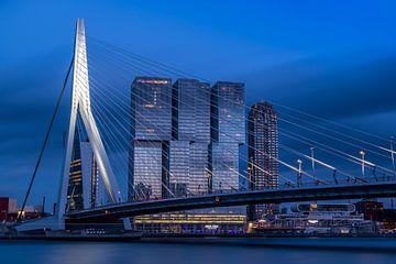 Erasmus brug en Rotterdam Skyline  van Nick Janssens