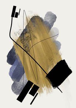 Abstract schilderij met inkt en verfstrepen van Romee Heuitink