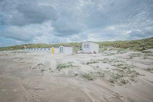 Strandhuisjes op strand Texel van