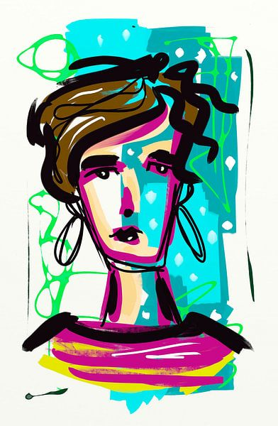 Blue girl 2 van Jolanda Janzen-Dekker