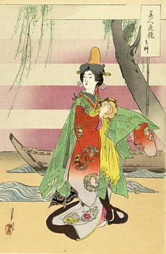 Dansende vrouw bij boot, Ogata Gekkô