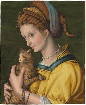Porträt einer jungen Dame, die eine Katze hält, Bachiacca
